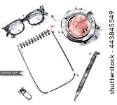 vector set of working tools ... | Shutterstock .eps vector #443845549