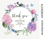 Summer Vintage Floral Greeting Card with Blooming Hydrangea and garden flowers, Thank you botanical natural hydrangea Illustration on white in watercolor style.   | Shutterstock vector #443850274
