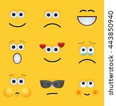 vector modern yellow face set... | Shutterstock .eps vector #443850940