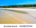 Sea Waves On Sandy Beach In...