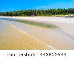 Sea Waves On Sandy Beach In...