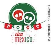 skull icon. mexico culture.... | Shutterstock .eps vector #443856343