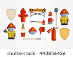 colorful vintage flat icon set.... | Shutterstock . vector #443856436