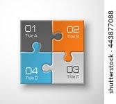 four piece puzzle business... | Shutterstock .eps vector #443877088