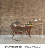 study desk behind natural brick ... | Shutterstock . vector #443879110