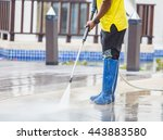 outdoor floor cleaning with... | Shutterstock . vector #443883580
