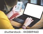 mockup copyspace mobile using... | Shutterstock . vector #443889460