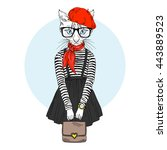 cat girl dressed up in french... | Shutterstock .eps vector #443889523