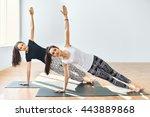 two young women doing yoga... | Shutterstock . vector #443889868