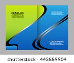 black brochure tri fold... | Shutterstock .eps vector #443889904