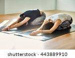 two young women doing yoga... | Shutterstock . vector #443889910