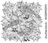 contoured mandala shape flowers ... | Shutterstock .eps vector #443890093