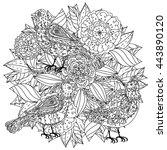 contoured mandala shape flowers ... | Shutterstock .eps vector #443890120