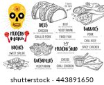 mexican menu placemat food... | Shutterstock .eps vector #443891650