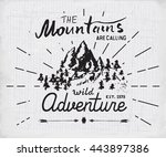 mountains hand drawn sketch... | Shutterstock .eps vector #443897386