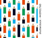 seamless pattern with pencils... | Shutterstock .eps vector #443901760
