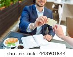 successful businessman paying... | Shutterstock . vector #443901844