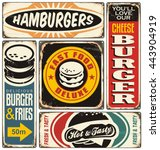 retro burger signs collection... | Shutterstock .eps vector #443904919
