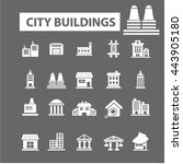 city buildings icons | Shutterstock .eps vector #443905180