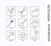 scissors  hammer and gloves... | Shutterstock .eps vector #443913154