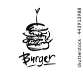 logo for fast food. drawing ink ... | Shutterstock .eps vector #443913988