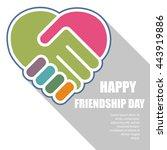 handshake in a heart shape ... | Shutterstock .eps vector #443919886
