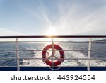 ring life boy on big boat... | Shutterstock . vector #443924554