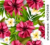 tropical flower  blossom... | Shutterstock .eps vector #443925448