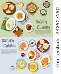 dutch and danish cuisines with... | Shutterstock .eps vector #443927590