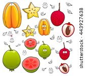 smiling tropical dessert star...   Shutterstock .eps vector #443927638