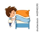 child making bed  vector... | Shutterstock .eps vector #443940190