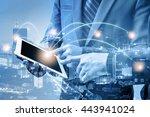 double exposure of businessmen... | Shutterstock . vector #443941024