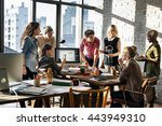business office connection... | Shutterstock . vector #443949310
