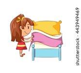 girl making bed  vector... | Shutterstock .eps vector #443949469
