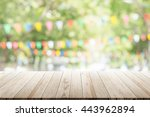 empty wooden table with blurred ... | Shutterstock . vector #443962894