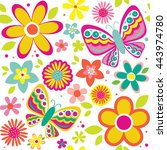 spring pattern with cute... | Shutterstock .eps vector #443974780
