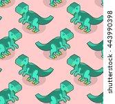tyrannosaurus isometric texture.... | Shutterstock .eps vector #443990398