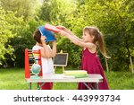 two school girls quarrel and... | Shutterstock . vector #443993734