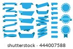 blue flat ribbons set | Shutterstock .eps vector #444007588