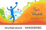 volleyball athlete sport game... | Shutterstock .eps vector #444008980