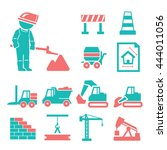 construction work icons set | Shutterstock .eps vector #444011056
