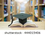 graduation cap over open books... | Shutterstock . vector #444015406