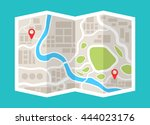 map with navigation. finding... | Shutterstock .eps vector #444023176