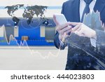 double exposure of businessman... | Shutterstock . vector #444023803