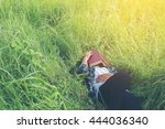 young hipster man lying down on ... | Shutterstock . vector #444036340