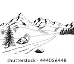 mountain road graphic art black ... | Shutterstock .eps vector #444036448
