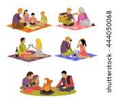 vector set of summer recreation ... | Shutterstock .eps vector #444050068