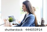 portrait of call center worker... | Shutterstock . vector #444053914