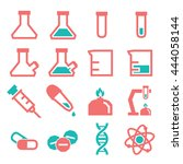 lab beakers icon set | Shutterstock .eps vector #444058144