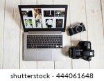 wedding photographer works on... | Shutterstock . vector #444061648
